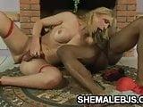 Latina shemale Bianca Andrade jerking her hard cock