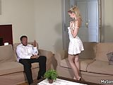 His blonde girl rides old dad's cock