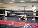 Eurobabes enjoy wrestling on the ground