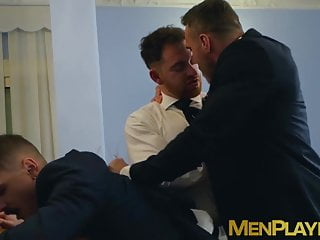 Business daddies barebacking young hunk in hardcore 3way...