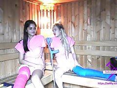 Fetisch-Concept.com - 2 girls with long cast leg in sauna