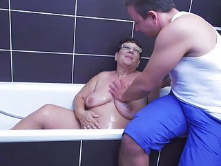 Grandma gets unexpected sex from son