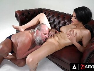 Curvy Gal Helps Old Man With His Titty Obsession