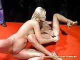 lesbian sex on public show stage