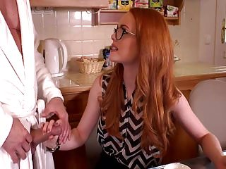 British redhead gives a blowjob...