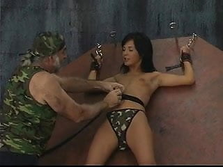 Woman in camo is locked in a small...