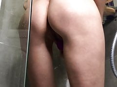 Shower masturbation with loud moaning orgasm