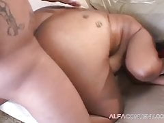 Black tattooed piercing chubby girl is agile on the dick