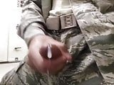 Horny Solider Jerks Off & Cums at Work