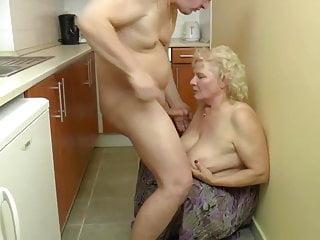 in BBW granny fucks kitchen the blonde