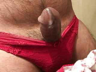 Wearin Cousin's Red Panty & Cumin on her Floral Cotton Panty