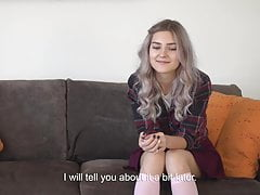 The youngest virgin with shows her hymen and masturbates.