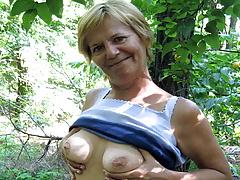71yo Grandma Elisa Seduced to Public Sex by Young Guy