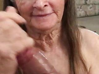 Granny milks the cock...