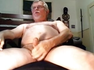 Poppered up daddy creams a load of cum...