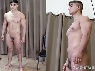Straight Latino Muscleboy Spanked OTK for the First Time