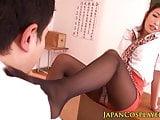 Japanese milf teacher jerking student