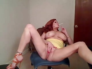 Red Head GILF Smoking and Masturbating