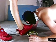 Girl Humiliates a Guy - Food and Foot Fetish