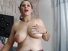 Saray Sweet, big busty Latina fucks her pussy with a big black dildo