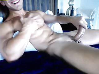 Wanks his big cock...