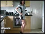 Cheeky babe with great legs teases in naughty patent heels