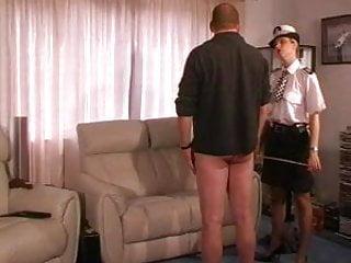 Female uk police officer punishes and canes guy...