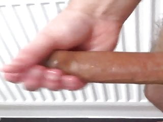 STROKING AND SLAPPING MY OILED UP BIG OLDER DICK