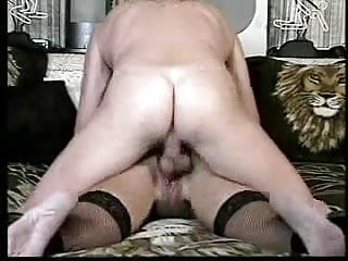 Older Gent licks his cum out of her ass