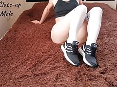 Masturbating pussy in sneakers before training. Anna Mole.
