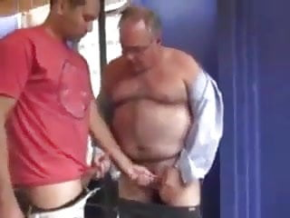 Handsome dad passionate sex
