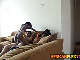 Cute black pussy sexy cock ride on couch