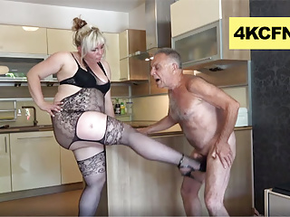 Pissed bbw and daughter ballbusting old perv...