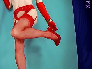 lingere  in Redhead red vintage heels stockings high &