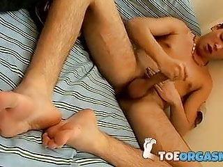 Foot worshiping twink after masturbation...