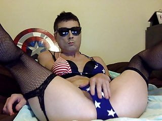 Sexy Logan Male Stripper In Red White and Blue Bikini