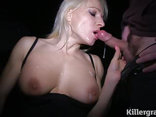 Blonde milf sucking public...