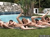 Group lesbian babes party outdoors