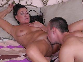 Modern mom pleasing happy son