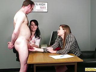 Hd Videos video: Horny office handjob babes jerk off dick