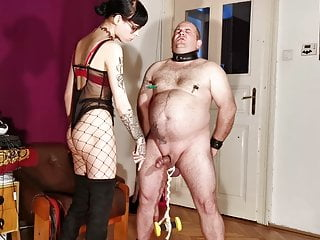 Goth dominatrix, painful CBT & bellypunch for her fat slave pt12