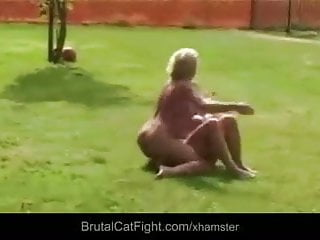Cheated wife and slutty blonde mistress catfight rough...