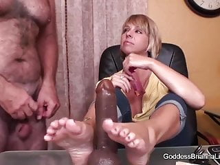 Hot blonde dominatrix and her pathetic slave