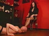 Beauty woman with metal 7 inches High Heels doing Femdom