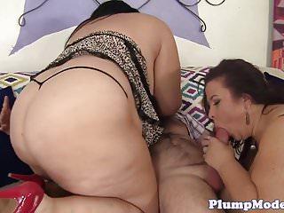 Busty SSBBWs banged in threesome