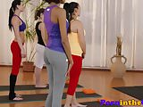 Gym babes face sit and ride instructors cock