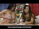 Asian Interracial Threesome Soapy Massage and Happy Ending