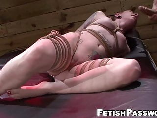 Rope tied sub Sheena Rose destroyed until big messy facial