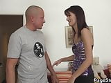Brunette bitch takes real hard fucking