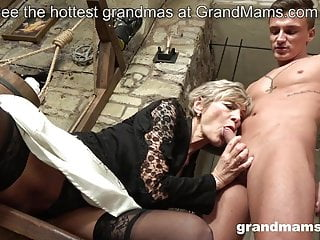 Old and young granny and nephew sex...